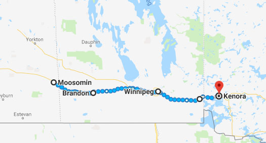 Route through Manitoba