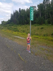 222 Km sign in New Brunswick