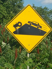 Tractor Warning Sign in Le Petit Nation of Quebec