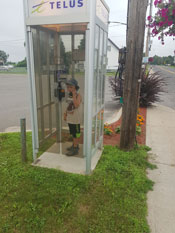 A phone booth, what a concept!