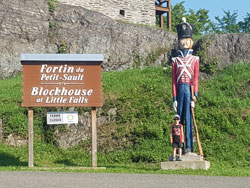 Tin Soldier in front of Block House at Little Falls